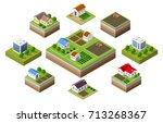 farm set of houses in isometric ... | Shutterstock .eps vector #713268367