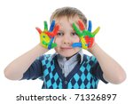 smiling boy with the palms... | Shutterstock . vector #71326897