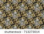 raster vintage baroque floral... | Shutterstock . vector #713273014