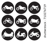 motorcycles icon set | Shutterstock .eps vector #713276719