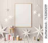 mock up poster in the christmas ... | Shutterstock . vector #713282059
