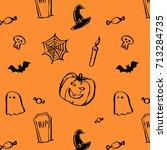 halloween seamless pattern with ... | Shutterstock .eps vector #713284735