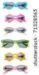 Summer Child Size Sunglasses Isolated on White with a Clipping Path. - stock photo