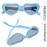 Blue Heart Summer Child Size Sunglasses in Two Views Isolated on White with a Clipping Path. - stock photo
