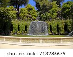 the oval fountain in park of... | Shutterstock . vector #713286679