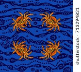 halloween seamless pattern with ... | Shutterstock .eps vector #713294821