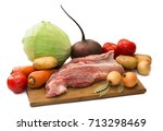 Fresh Vegetables With Raw Meet...