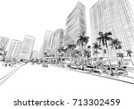 usa. florida. miami. unusual... | Shutterstock .eps vector #713302459