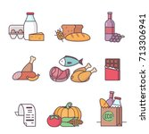 grocery food icons. different... | Shutterstock .eps vector #713306941