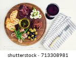 italian antipasti wine snacks... | Shutterstock . vector #713308981