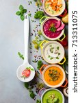 variety of colorful vegetables... | Shutterstock . vector #713311075