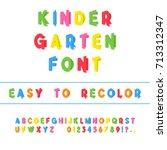 kindergarten font. folded paper ...   Shutterstock .eps vector #713312347