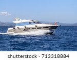 luxury yacht in the sea ... | Shutterstock . vector #713318884