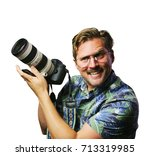 funny retro man with mustache... | Shutterstock . vector #713319985