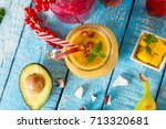 healthy fresh smoothies with... | Shutterstock . vector #713320681