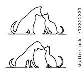 dog and cat icon silhouette. | Shutterstock .eps vector #713325331