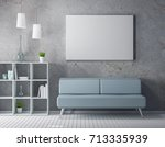 frame mockup on the stony wall... | Shutterstock . vector #713335939