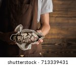 beautiful rye bread in a strong ... | Shutterstock . vector #713339431