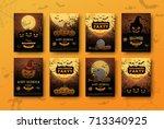 halloween backgrounds... | Shutterstock .eps vector #713340925
