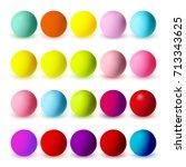 colourful matte spheres... | Shutterstock .eps vector #713343625