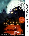 halloween party flyer with... | Shutterstock .eps vector #713345449