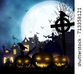 halloween landscape with night ... | Shutterstock .eps vector #713358121