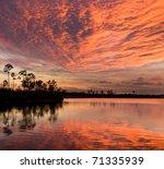 Sunset On Pine Lake. Everglade...