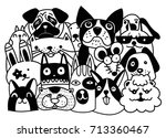 Stock vector group animals pet shop home pets set isolated cat dog rat rabbit cartoon vector illustration 713360467
