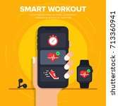 smart workout icon concept.... | Shutterstock .eps vector #713360941