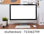 monitor computer pc workspace...   Shutterstock . vector #713362759