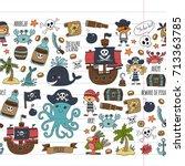 vector seamless pattern pirate... | Shutterstock .eps vector #713363785