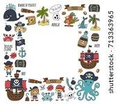 vector seamless pattern pirate... | Shutterstock .eps vector #713363965