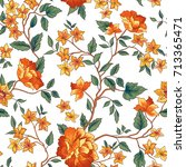 floral pattern in chinese... | Shutterstock .eps vector #713365471