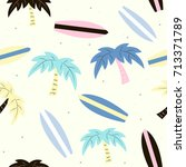 funny surfing seamless pattern... | Shutterstock .eps vector #713371789