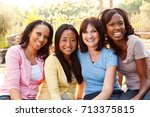 diverse group of women talking... | Shutterstock . vector #713375815