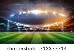 lights at night and football... | Shutterstock . vector #713377714