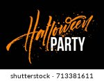 happy halloween lettering.... | Shutterstock .eps vector #713381611