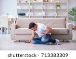 man suffering from sick stomach ... | Shutterstock . vector #713383309