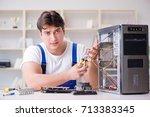 computer repairman repairing... | Shutterstock . vector #713383345