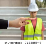 many hands pointing the...   Shutterstock . vector #713385949