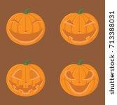 a sets creepy pumpkin for... | Shutterstock .eps vector #713388031