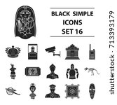 museum set icons in black style.... | Shutterstock .eps vector #713393179