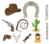 a set of pictures about cowboys.... | Shutterstock .eps vector #713393731