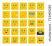 emoticons set flat icons vector ...   Shutterstock .eps vector #713404285