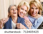 family of three generation of... | Shutterstock . vector #713405425