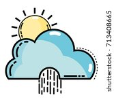 cute cloud with sun and raining ... | Shutterstock .eps vector #713408665