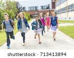 great portrait of school pupil... | Shutterstock . vector #713413894