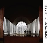 Metal Pipes Of Pipe Organ In A...
