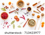 spicy food cooking with spices... | Shutterstock . vector #713423977