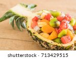 mix sliced fruits  orange ... | Shutterstock . vector #713429515